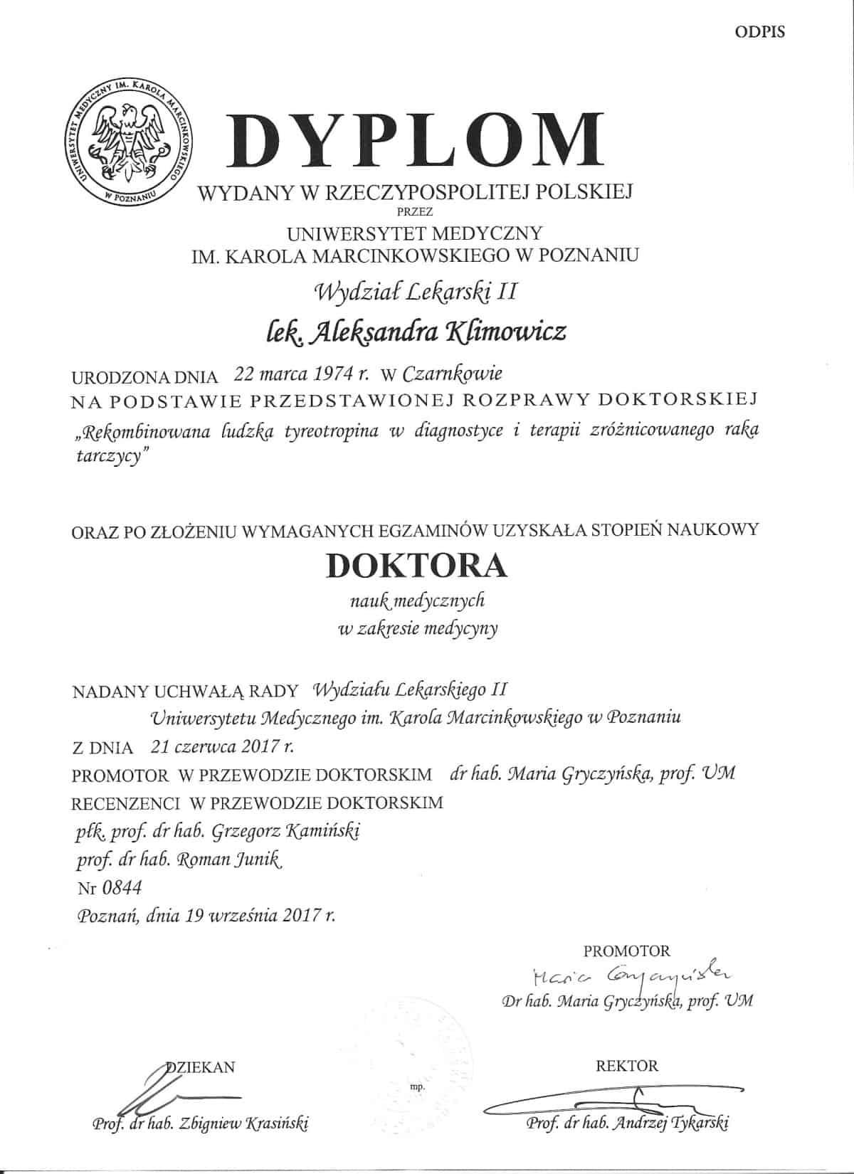 Aleksandra Klimowicz endokrynolog